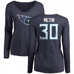 Women's Chris Milton Tennessee Titans Name & Number Logo Slim Fit Long Sleeve T-Shirt - Navy