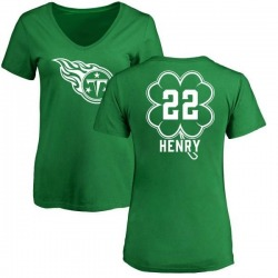 Women's Derrick Henry Tennessee Titans Green St. Patrick's Day Name & Number V-Neck T-Shirt