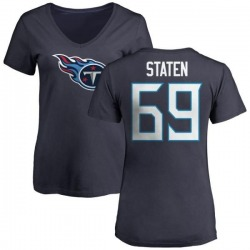 Women's Jimmy Staten Tennessee Titans Name & Number Logo Slim Fit T-Shirt - Navy